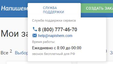 Контакты и режим работы службы поддержки в сервисе «Напишем».