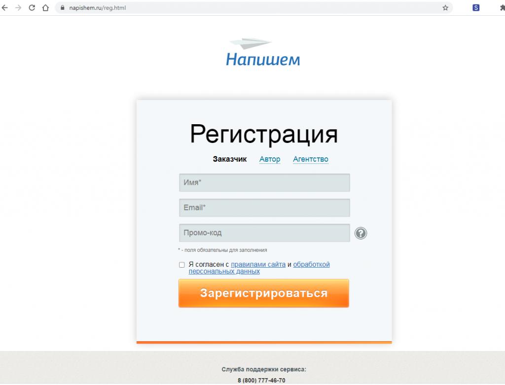 Регистрационная форма в сервисе «Напишем».